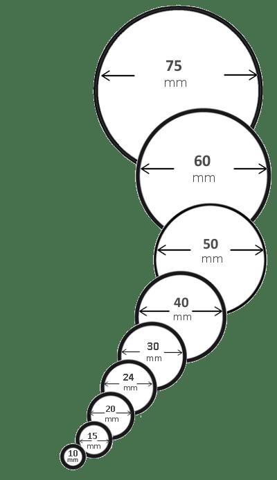 Etiketten rund, viele Durchmesser